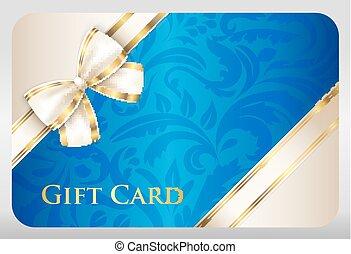 blaues, geschenkschein, mit, damast, verzierung, und, creme,...