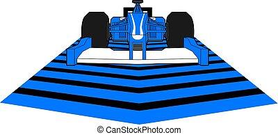 blaues, geschwindigkeit, rennwagen