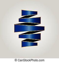 blaues, gestapelt, gold, fünf, geschichten, geschenkband