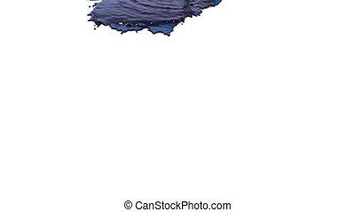 blaues, gießen, oel, flüssiglkeit, hintergrund., weißes