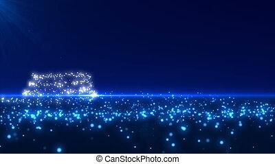 blaues, glühen, baum, weihnachten