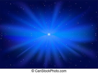 blaues, glühen, stern
