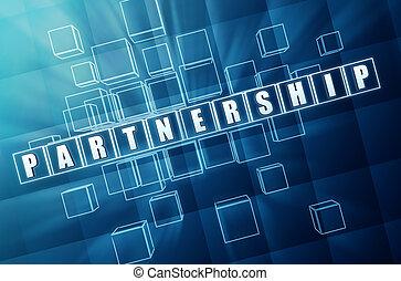 blaues glas, partnerschaft, würfel