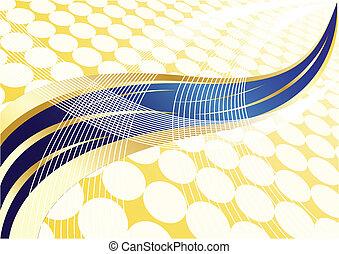 blaues, gold, abstrakt, vektor, hintergrund, punkt