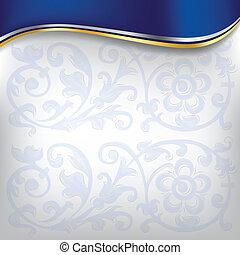 blaues, goldener hintergrund, welle