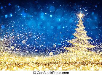 blaues, goldenes, baum, -, hintergrund, staub, glänzend, weihnachten, glitzern