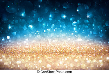 blaues, goldenes, -, effekt, bokeh, hintergrund, glänzend, weihnachten, glitzern