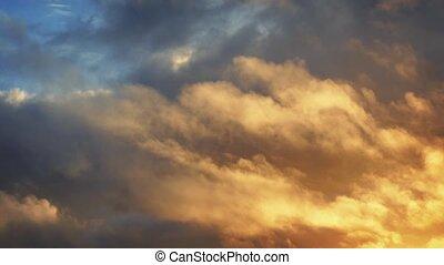 blaues, goldenes, episch, wolkenhimmel, himmelsgewölbe