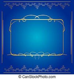 blaues, goldenes, rahmen, vektor, hintergrund