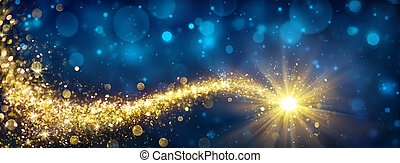 blaues, goldenes, stern, himmelsgewölbe, funkeln, weihnachten