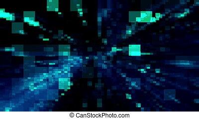 blaues grün, digital, rückkopplung, schleife