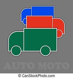 blaues grün, drei, lastwagen, rotes