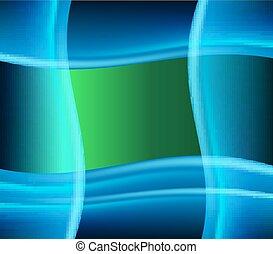 blaues grün, hintergrund, welle