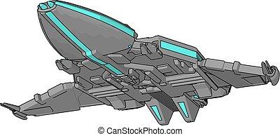 blaues, grau, abbildung, raumfahrzeug, vektor, hintergrund, weißes