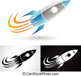 blaues, grau, rakete, ikone