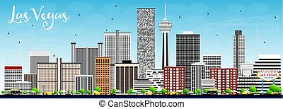 blaues, graue , gebäude, sky., skyline, las vegas, las