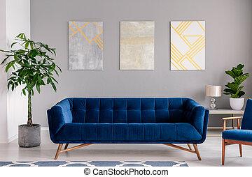 blaues, graue , grafik, samt, zimmer, gemälde, lebensunterhalt, wand, modern, photo., couch, dunkel, interior., front, echte