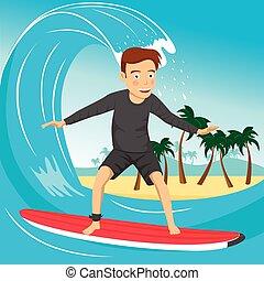 blaues, groß, mann, insel, surfer, welle, tropische , palmen, reiten, wasserlandschaft