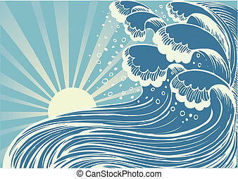 blaues, groß, sea.vector, wellen, sturm, sonne, tag