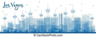 blaues, grobdarstellung, gebäude., skyline, las vegas, las