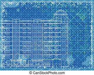 blaues, grunge, architektonisch, beschaffenheit