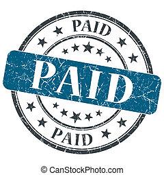 blaues, grunge, briefmarke, bezahlt, hintergrund, weißes,...