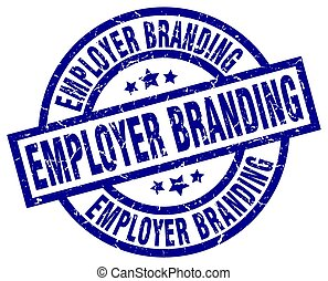 blaues, grunge, briefmarke, brandmarken, arbeitgeber, runder...