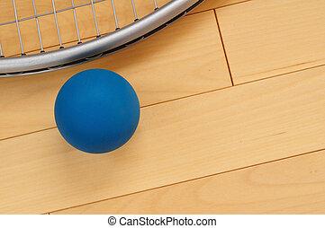 blaues, gummi, racquetball, racquet