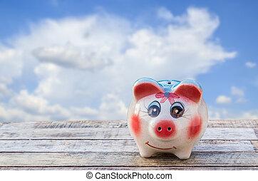 blaues, hölzern, aus, himmelsgewölbe, Verwischt, Schweinchen, hintergrund, Tisch,  bank