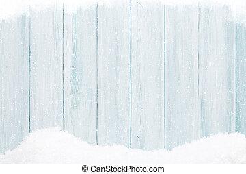 blaues, hölzerne beschaffenheit, mit, schnee