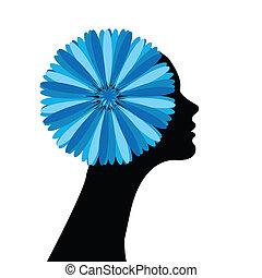 blaues haar, m�dchen, blumen, sie