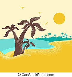 blaues, handflächen, natur, insel, plakat, wasserlandschaft, tropische , wasserlandschaft, wellen, .vector