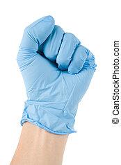 blaues, handschuh