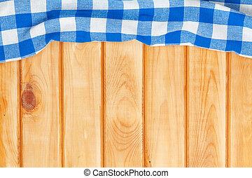 blaues, handtuch, aus, hölzern, küchentisch
