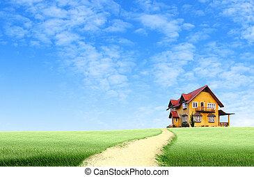 blaues, haus, himmelsgewölbe, Feld, grün, Straße, landschaftsbild