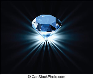 blaues, hell, vektor, diamond.