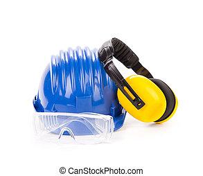 blaues, helm, sicherheit, kopfhörer