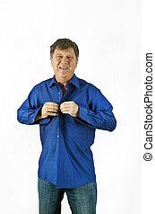 blaues hemd, geschaeftswelt, bekommen, angezogene , mann