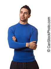 blaues hemd, mann