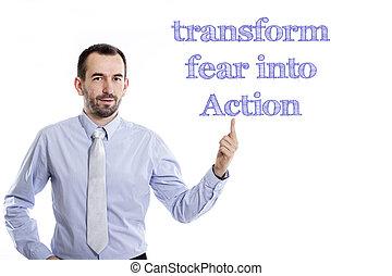 blaues hemd, zeigen, junger, -, umformen, auf, aktiv, klein, geschäftsmann, fürchten, bart