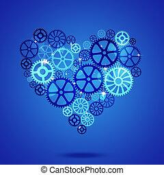 blaues, herz, geschaeftswelt, form, zahnräder, hintergrund