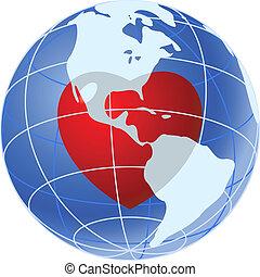 blaues, herz, planet, rote erde