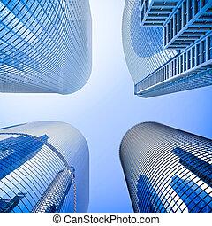 blaues, highrise, glas, wolkenkratzer, kreuzung, niedriger...