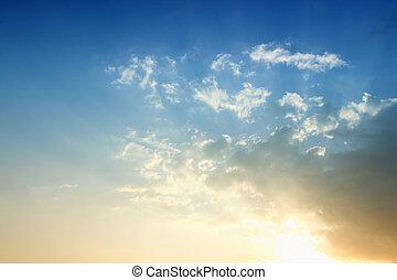 blaues, himmelsgewölbe, Sonnenuntergang