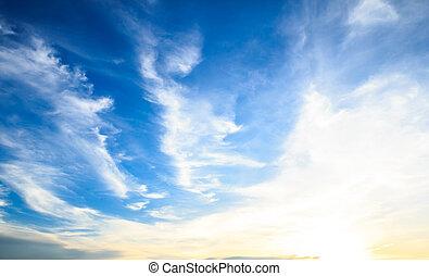 blaues, himmelsgewölbe, Sonnenuntergang, Wolke
