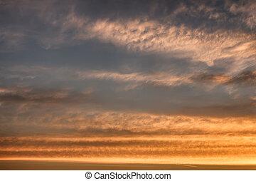 blaues, himmelsgewölbe, wolkenhimmel, Sonnenuntergang