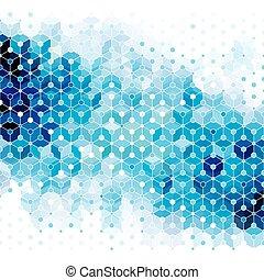 blaues, hintergrund., abstrakt, molekül