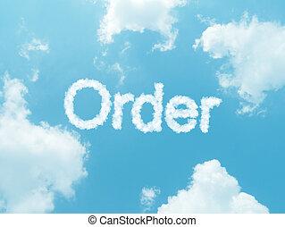 blaues, hintergrund, himmelsgewölbe,  design, Wörter, Wolke