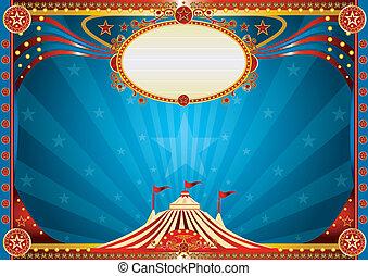blaues, horizontal, zirkus, hintergrund