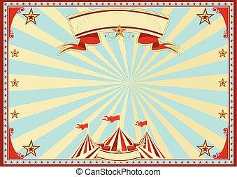 blaues, horizontal, zirkus, sonnenstrahlen